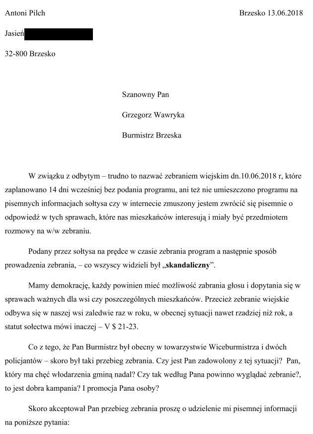 pismo antoniego pilcha  burmistrza wawryki